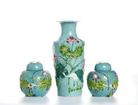 Chinese Turquoise-Ground Vase and Jars