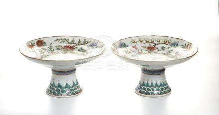 Pair of Chinese Famille Rose Stem Dishes