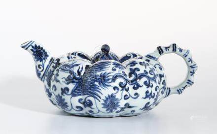 Chinese Blue and White 'Pumpkin' Teapot and Cover