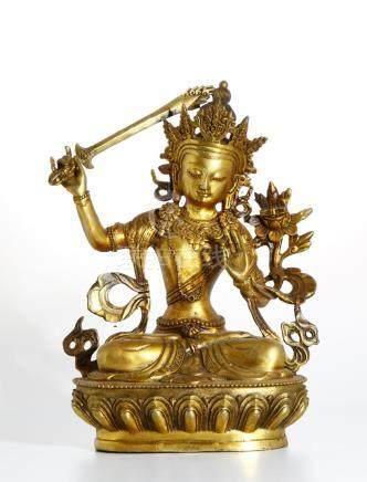 Chinese Gilt Bronze Figure of Manjushri