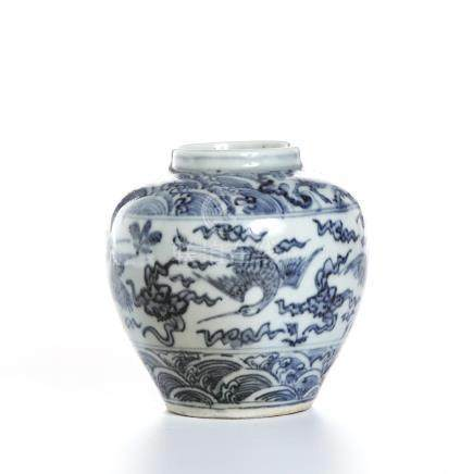 Chinese Blue and White 'Cranes' Jar