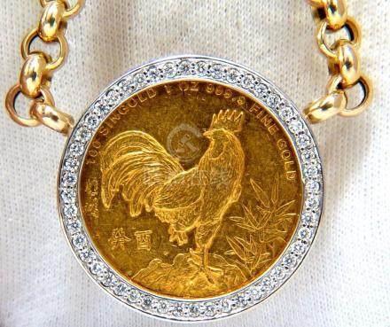 1993 SINGOLD FINE GOLD COIN 1.00CT DIAMONDS ITALIAN