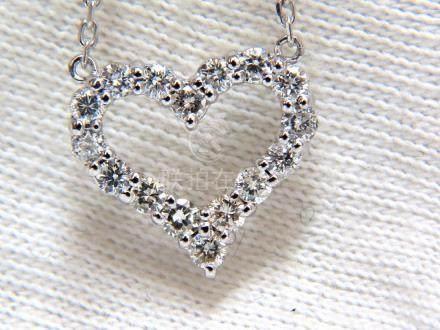 .68CT NATURAL DIAMONDS HEART PENDANT G/VS 14KT
