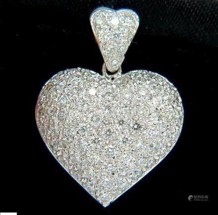 2.50CT PUFFED DOME FULL CUTS DIAMONDS HEART PENDANT 14K