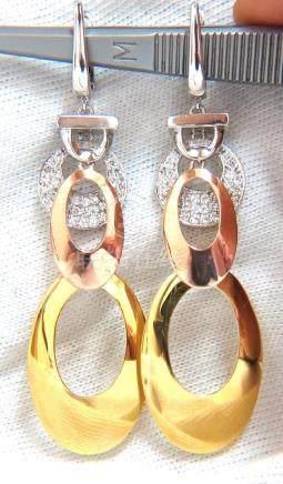 .80CT NATURAL DIAMONDS DANGLE EARRINGS TRICOLOR 3D