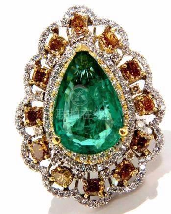 GIA 12.77CT NATURAL EMERALD DIAMONDS RING 18KT VIVID