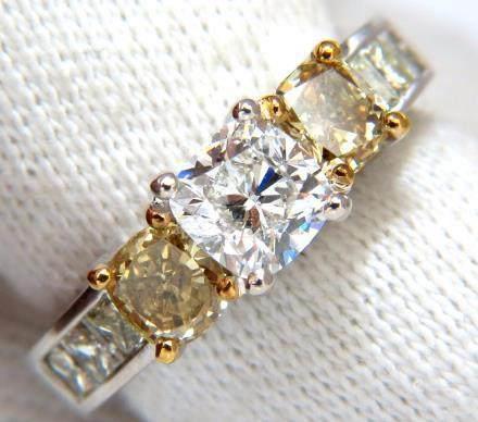 GIA certified 1.01ct Cushion cut diamond & 1.02ct fancy