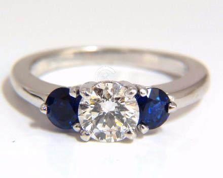 1.57CT NATURAL DIAMONDS SAPPHIRE THREE STONE RING 14KT
