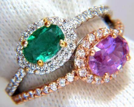 2.41ct NATURAL VIVID GREEN & PINK SAPPHIRE DIAMONDS