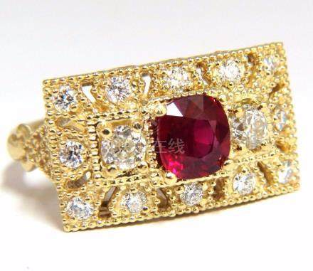 GIA 2.31CT NATURAL CUSHION VIVID RED RUBY DIAMONDS