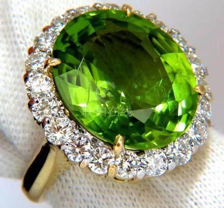 GIA 19.89ct NATURAL VIVID GREEN OVAL PERIDOT DIAMOND