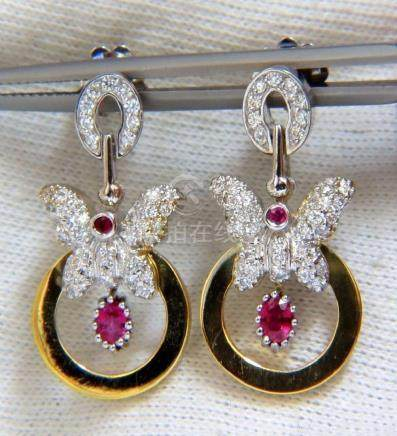 1.70CT NATURAL OVAL BRIGHT RED RUBY DIAMOND DANGLE