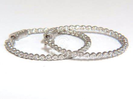 1.40CT NATURAL DIAMONDS INSIDE OUT HOOP EARRINGS 14KT