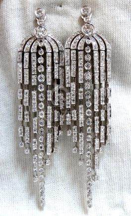 5.10ct NATURAL ROUND DIAMONDS DANGLE 6 ARCH CHANDELIER
