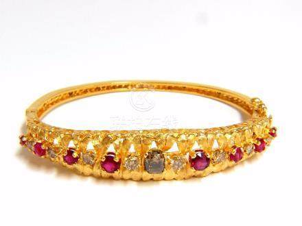 3.26CT NATURAL RUBY FANCY COLOR DIAMONDS BANGLE