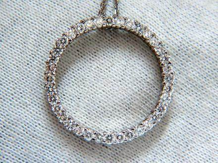 CIRCLE DIAMOND NECKLACE 1.50ct 14KT G/VS ROUNDS 16 INCH