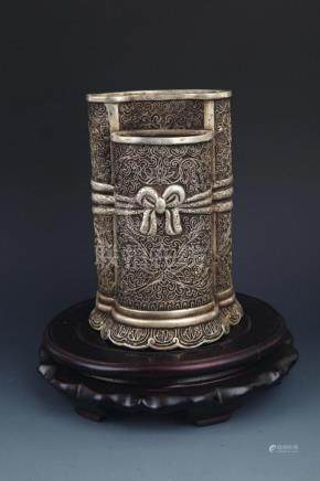 A SILVER PLATED BRONZE BRUSH HOLDER