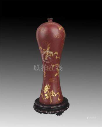 TALL WOOD GILT-LACQUERED WOOD BOTTLE
