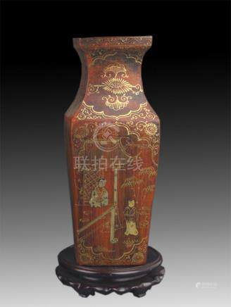 GILT LACQUERED FLOWER PAINTED VASE