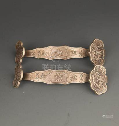 PAIR OF TWO FINELY CARVING SILVER PLATED RU YI