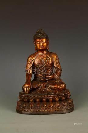 A LARGE BRONZE AKSHOBHYA BUDDHA FIGURE