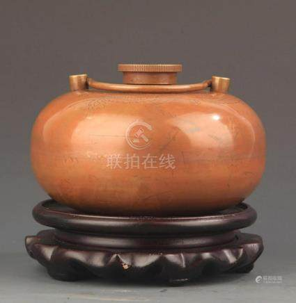 A BRASS DRAGON CARVING ROUND HAND WARMER