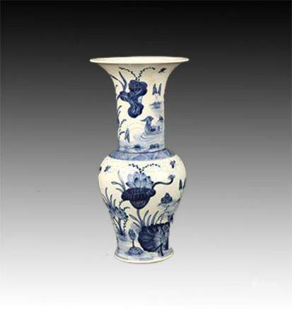 BLUE AND WHITE LOTUS PAINTED PORCELAIN JAR
