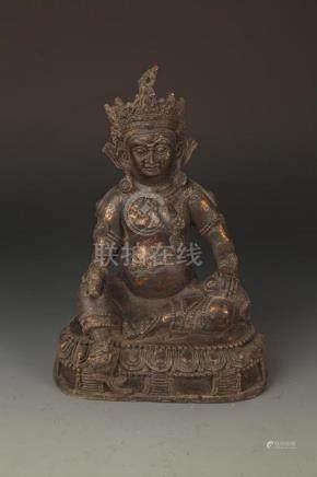 A FINE GOD OF WEALTH CAST IRON BUDDHA