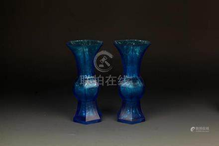 PAIR  OF BLUE COLOR SPRINKLE GOLD GLASS FLOWER JAR