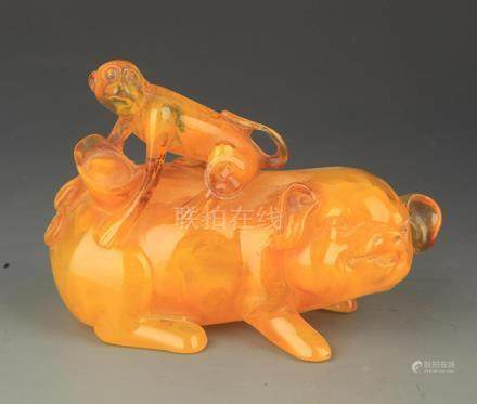 A FINE BEESWAS PIG WITH MONKEY FIGURE
