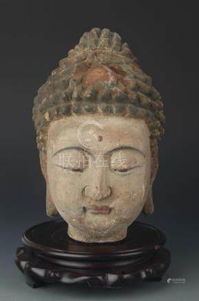 A CARVED AND PAINTED MANJUSRI BUDDHA HEAD