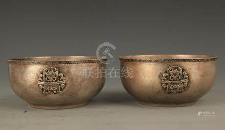 PAIR OF FISH CARVING BRONZE BOWL