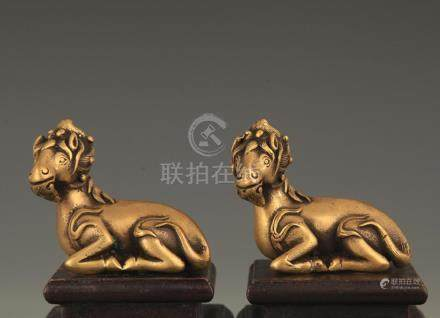 PAIR OF BRONZE ANTELOPE DECORATION