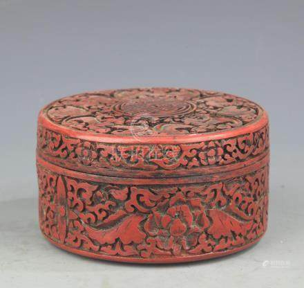 A LACQUER CARVING LONGEVITY PATTERN BOX WITH COVER