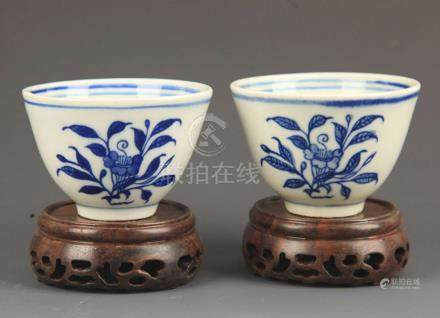 PAIR OF FLOWER BLUE AND WHITE CUP