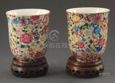 PAIR OF FAMILLE-ROSE PORCELAIN CUP