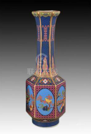 FAIENCE COLOR LONG NECK SIX SIDE PORCELAIN VASE