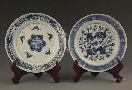 BLUE AND WHITE LONGEVITY PATTERN PORCELAIN PLATE