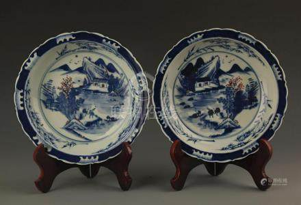 PAIR OF BLUE AND WHITE COLOR LANDSCAPE PLATE