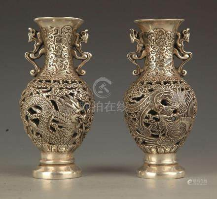 PAIR OF HOLLOW CARVING BRONZE DOUBLE EAR JAR