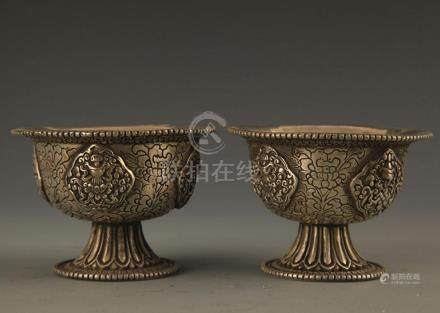 PAIR OF FINELY MADE BRONZE CUP
