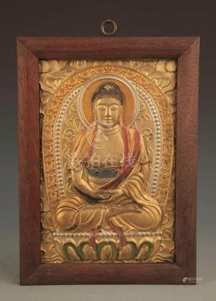 A BRONZE BASE TIBETAN BUDDHA PANEL