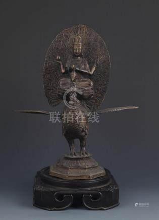 TIBETAN BUDDHISM BRONZE MAHAMAYURI STATUE