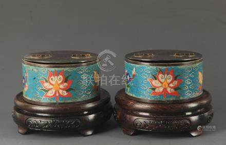PAIR OF BRONZE CLOISONNE MAKE UP BOX