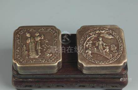 PAIR OF BRONZE FEMALE CARVING INK BOX