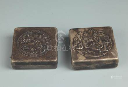 PAIR OF FINELY CARVED BRONZE INK BOX