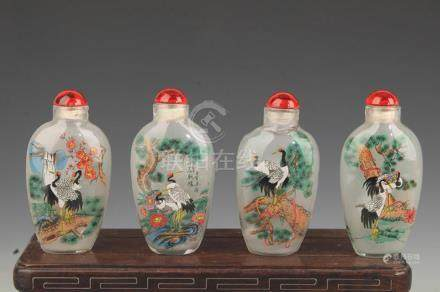GROUP OF FOUR CRANE PAINTED SNUFF BOTTLE
