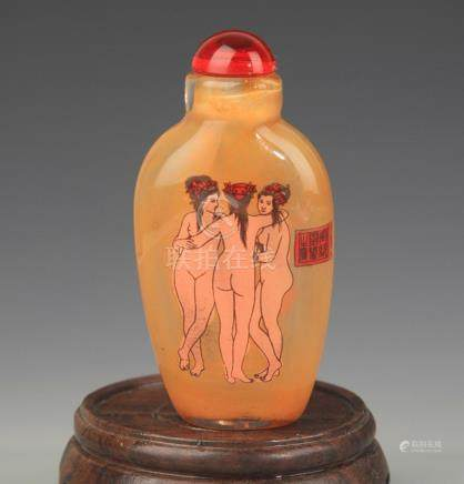 AN INNER CHARACTER PAINTED GALSS SNUFF BOTTLE