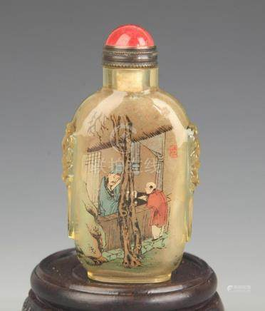 A FINE STORY PAINTED GLASS SNUFF BOTTLE