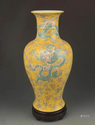 YELLOW GROUND FAMILLE ROSE DRAGON PAINTED VASE